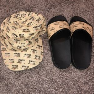Gucci flip flops with hat set